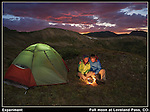 """I had seen some interesting landscapes taken under the light of a full moon.<br /> Here, I placed a light in the tent and made a """"campfire"""" using a candle. Pretty simple. Boulder colorado tours."""