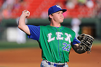 Left fielder Dex Kjerstad (22) of the Lexington Legends warms up before a game against the Greenville Drive on Wednesday, June 4, 2014, at Fluor Field at the West End in Greenville, South Carolina. Lexington won, 9-3. (Tom Priddy/Four Seam Images)
