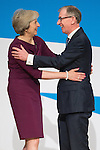 © Joel Goodman - 07973 332324 . 05/10/2016 . Birmingham , UK . THERESA MAY and husband PHILIP BALL celebrate after Theresa May delivers the leader's speech at the close of the conference . The fourth and final day of the Conservative Party Conference at the International Convention Centre in Birmingham . Photo credit : Joel Goodman