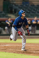 AZL Rangers catcher David Garcia (9) jogs down the first base line as he watches his home run clear the right field fence during an Arizona League game against the AZL Giants Black at Scottsdale Stadium on August 4, 2018 in Scottsdale, Arizona. The AZL Giants Black defeated the AZL Rangers by a score of 6-3 in the second game of a doubleheader. (Zachary Lucy/Four Seam Images)