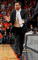 CHARLOTTESVILLE, VA- JANUARY 7: Associate head coach Ritchie McKay of the Virginia Cavaliers reacts to a play during the game against the Miami Hurricanes on January 7, 2012 at the John Paul Jones Arena in Charlottesville, Virginia. Virginia defeated Miami 52-51. (Photo by Andrew Shurtleff/Getty Images) *** Local Caption *** Ritchie McKay
