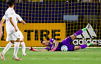 CARSON, CA - SEPTEMBER 19: David Bingham #1 GK of the Los Angeles Galaxy dives for a ball during a game between Colorado Rapids and Los Angeles Galaxy at Dignity Heath Sports Park on September 19, 2020 in Carson, California.