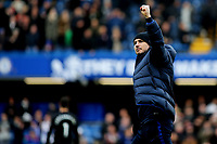 Chelsea Manager, Frank Lampard celebrates their victory at the final whistle during Chelsea vs Everton, Premier League Football at Stamford Bridge on 8th March 2020