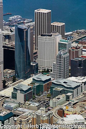 aerial photograph Millenium tower, Spear Street Towers, Foundry Square, skyscrapers San Francisco