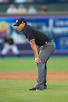 Third base umpire Jeremie Rehak during the Eastern League game between the Akron Rubber Ducks and the Reading Fightin Phils at FirstEnergy Stadium on June 19, 2014 in Wappingers Falls, New York.  The Rubber Ducks defeated the Fightin Phils 3-2.  (Brian Westerholt/Four Seam Images)