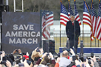 US President Donald J. Trump delivers remarks to supporters gathered to protest Congress' upcoming certification of Joe Biden as the next president on the Ellipse in Washington, DC, USA, 06 January 2021. Various groups of Trump supporters are gathering to protest as Congress prepares to meet and certify the results of the 2020 US Presidential election.<br /> Credit: Shawn Thew / Pool via CNP/AdMedia