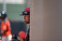 San Francisco Giants Orange manager Carlos Valderrama during an Extended Spring Training game against the Seattle Mariners at the San Francisco Giants Training Complex on May 28, 2018 in Scottsdale, Arizona. (Zachary Lucy/Four Seam Images)