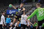 Rune Dahmke (GER) wirft auf das Tor von Rasmus Ots (EST) bei der Euro-Qualifikation im Handball, Deutschland - Estland.<br /> <br /> Foto © PIX-Sportfotos *** Foto ist honorarpflichtig! *** Auf Anfrage in hoeherer Qualitaet/Aufloesung. Belegexemplar erbeten. Veroeffentlichung ausschliesslich fuer journalistisch-publizistische Zwecke. For editorial use only.