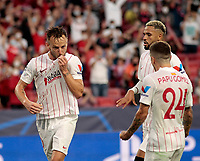 14th September 2021; Sevilla, Spain: UEFA Champions League football,  Sevilla FC versus RB Salzburg;  Rakitic of Sevilla celebrates after taking and scoring from the penalty kick for 1-1 in the 42nd minute