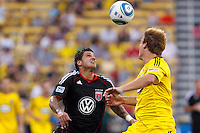 26 JUNE 2010:  Santino Quaranta #25 of DC United  and Chad Marshall of the Columbus Crew (14) during MLS soccer game between DC United vs Columbus Crew at Crew Stadium in Columbus, Ohio on May 29, 2010. The Crew defeated DC United 2-0.