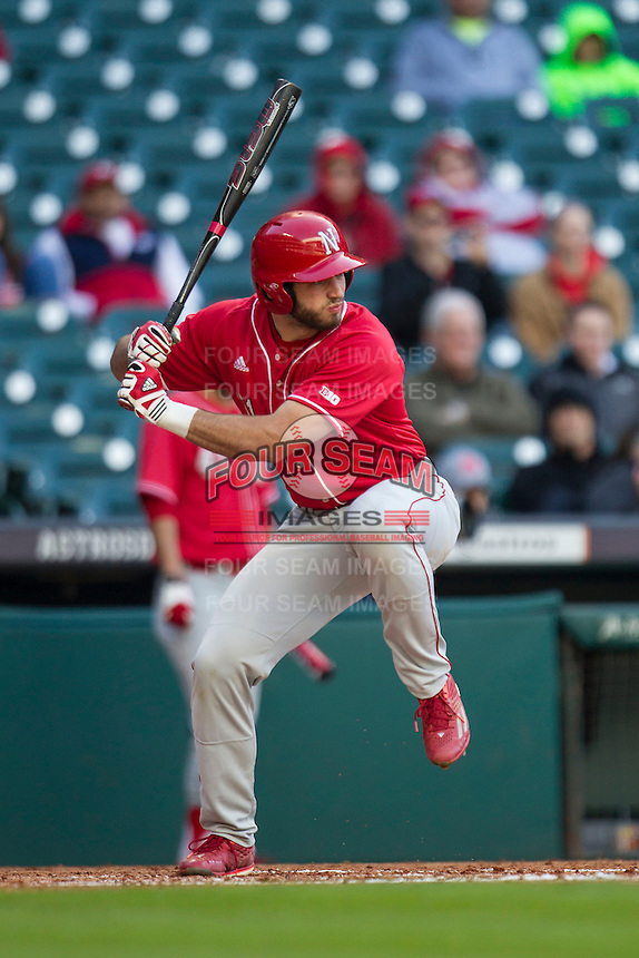 Nebraska Cornhuskers first baseman Scott Schreiber (11) at bat during Houston College Classic against the Texas A&M Aggies on March 6, 2015 at Minute Maid Park in Houston, Texas. Texas A&M defeated Nebraska 2-1. (Andrew Woolley/Four Seam Images)