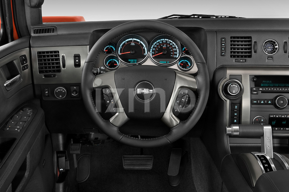 Steering wheel view of a 2008 Hummer H2 SUT