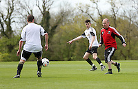 Pictured: Jack Wells and Jonathan Wilsher. Tuesday 06 May 2014<br /> Re: Members of the local press play football against Swansea City FC coaches and members of staff at the Club's training ground in Fairwood, south Wales.