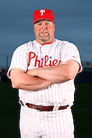 February 24, 2010:  Coach Mick Billmeyer (17) of the Philadelphia Phillies poses during photo day at Bright House Field in Clearwater, FL.  Photo By Mike Janes/Four Seam Images