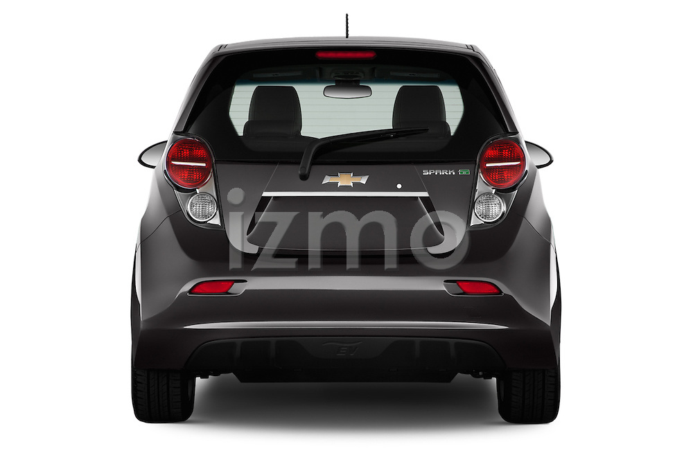 Straight rear view of a 2014 Chevrolet Spark EV