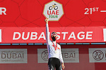 Race leader Tadej Pogacar (SLO) UAE Team Emirates also retains the young riders White Jersey at the end of Stage 6 of the 2021 UAE Tour running 165km from Deira Island to Palm Jumeirah, Dubai, UAE. 26th February 2021.<br /> Picture: LaPresse/Gian Mattia D'Alberto   Cyclefile<br /> <br /> All photos usage must carry mandatory copyright credit (© Cyclefile   LaPresse/Gian Mattia D'Alberto)