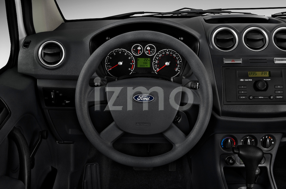 Steering wheel view of a 2010 Ford Transit XL Wagon