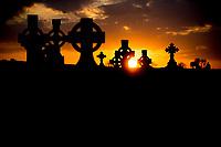 Gravestones in a cemetery in County Gallway, Ireland.