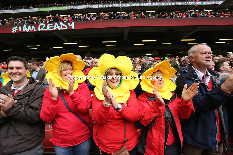 Pictured: Three female welsh supporters wearing daffodil heads Saturday 14 March 2015<br /> Re: RBS Six Nations, Wales v Ireland at the Millennium Stadium, Cardiff, south Wales, UK.