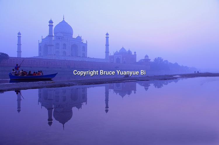Taj Mahal seen from the banks of river Yamuna. Agra. India