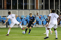 SAN JOSE, CA - OCTOBER 28: Tommy Thompson #22 of the San Jose Earthquakes during a game between Real Salt Lake and San Jose Earthquakes at Earthquakes Stadium on October 28, 2020 in San Jose, California.