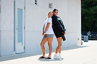CARY, NC - SEPTEMBER 12: Brittany Ratcliffe #27 and Peyton Perea #24 of the NC Courage arrive at Sahlen's Stadium before a game between Portland Thorns FC and North Carolina Courage at WakeMed Soccer Park on September 12, 2021 in Cary, North Carolina.
