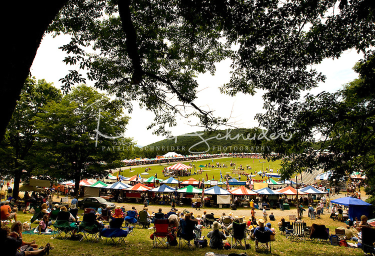 Wide angle view of Grandfather Mountain during the 52nd Annual Grandfather Mountain Highland Games in Linville, NC.