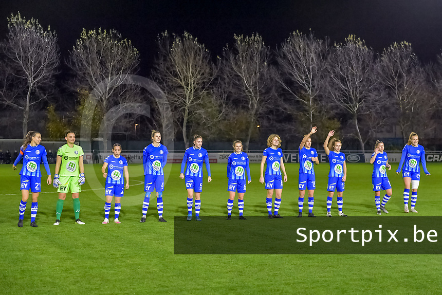 Line up KAA Gent ( defender Silke Vanwynsberghe (21) , goalkeeper Nicky Evrard (1) , defender Rkia Mazrouai (2) , defender Heleen Jacques (4) , defender Fran Meersman (5) , midfielder Emma Van Britsom (6) , midfielder Fleur Van Daele (8) , midfielder Chloe Vande Velde (10) , forward Jasmien Mathys (12) , defender Lindsey Van Belle (14) , forward Lobke Loonen (19) ) pictured before a female soccer game between  AA Gent Ladies and Standard Femina de Liege on the 8 th matchday of the 2020 - 2021 season of Belgian Scooore Womens Super League , friday 20 th of November 2020  in Oostakker , Belgium . PHOTO SPORTPIX.BE | SPP | STIJN AUDOOREN