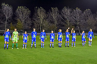 Line up KAA Gent ( defender Silke Vanwynsberghe (21) , goalkeeper Nicky Evrard (1) , defender Rkia Mazrouai (2) , defender Heleen Jacques (4) , defender Fran Meersman (5) , midfielder Emma Van Britsom (6) , midfielder Fleur Van Daele (8) , midfielder Chloe Vande Velde (10) , forward Jasmien Mathys (12) , defender Lindsey Van Belle (14) , forward Lobke Loonen (19) ) pictured before a female soccer game between  AA Gent Ladies and Standard Femina de Liege on the 8 th matchday of the 2020 - 2021 season of Belgian Scooore Womens Super League , friday 20 th of November 2020  in Oostakker , Belgium . PHOTO SPORTPIX.BE | SPP | STIJN AUDOOREN
