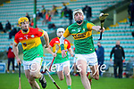 Shane Nolan, Kerry in action against Ger Coady, Carlow during the Joe McDonagh hurling cup fourth round match between Kerry and Carlow at Austin Stack Park on Saturday.