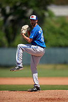Toronto Blue Jays pitcher Kyle Weatherly (85) during a Minor League Spring Training game against the Philadelphia Phillies on March 29, 2019 at the Carpenter Complex in Clearwater, Florida.  (Mike Janes/Four Seam Images)