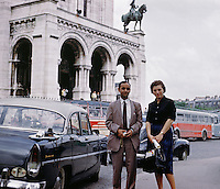 A couple sightseeing in Paris, 1959.