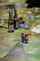 Pictured: Binoculars in the artist's studio Friday 02 December 2016<br /> The Sidney Nolan Trust, Rodd, Herefordshire, England, UK