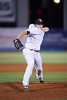 Tampa Yankees relief pitcher Caleb Frare (58) delivers a pitch during a game against the Lakeland Flying Tigers on April 8, 2016 at George M. Steinbrenner Field in Tampa, Florida.  Tampa defeated Lakeland 7-1.  (Mike Janes/Four Seam Images)