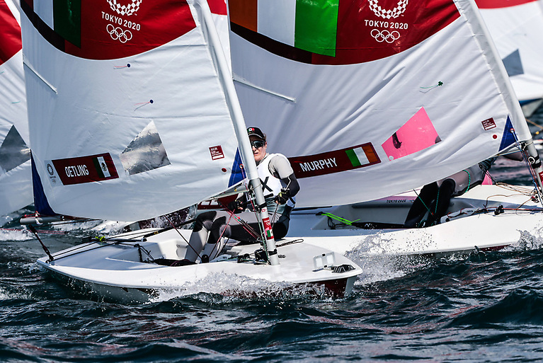 Attention to detail - Annalise Murphy's sail reveals a tiny self adhesive lucky shamrock on her tell tales