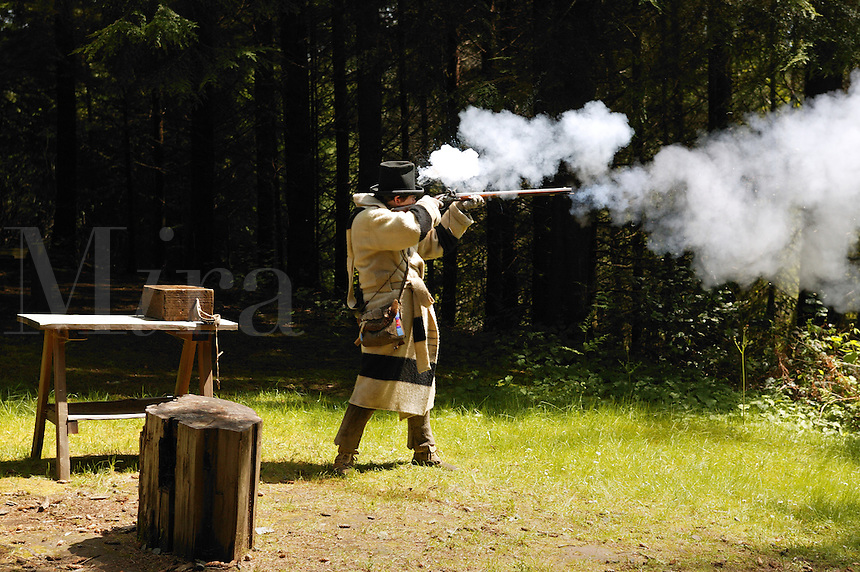 Musketloading rifle demonstration Fort Clatsop National Memorial, Oregon