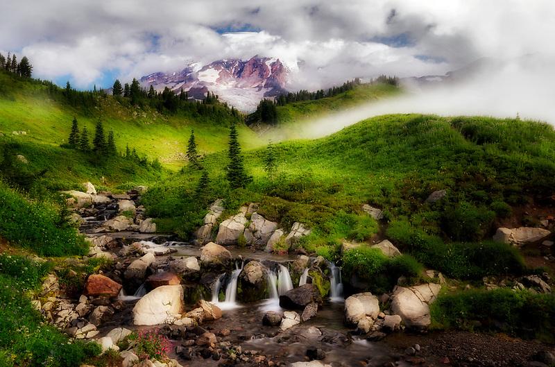 Edith Creek, wildflowers and Mt. Rainer breaking through the clouds. Mt. Rainier National Park, WA