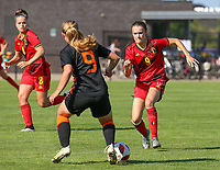 Sanne Peereboom (9) of the Netherlands and Fien Broeckaert (9) of Belgium in action during an international friendly female soccer game between the national teams of Belgium , called the Red Flames U17 and the Netherlands on Wednesday 8th of September 2020  in Kalmthout , Belgium . PHOTO SPORTPIX.BE | SPP | SEVIL OKTEM