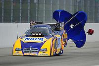 Feb. 12, 2012; Pomona, CA, USA; NHRA funny car driver Ron Capps during the Winternationals at Auto Club Raceway at Pomona. Mandatory Credit: Mark J. Rebilas-