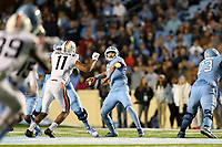 CHAPEL HILL, NC - NOVEMBER 02: Sam Howell #7 of the University of North Carolina passes the ball during a game between University of Virginia and University of North Carolina at Kenan Memorial Stadium on November 02, 2019 in Chapel Hill, North Carolina.