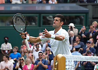 5th July 2021, Wimbledon, SW London, England; 2021 Wimbledon Championships, day 7; Novak Djokovic , Serbia
