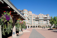 Whistler Blackcomb Resort, BC, British Columbia, Canada - Hanging Flower Baskets and Le Chamois Hotel, Summer