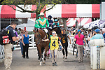 August 18, 2021: #4 French Light (FR) ridden by Jamie Bargary in the post parade before the start of the Grade 1 Jonathan Sheppard Handicap at Saratoga Race Course in Saratoga Springs, N.Y. on August 18, 2021. <br /> Robert Simmons/Eclipse Sportswire/CSM