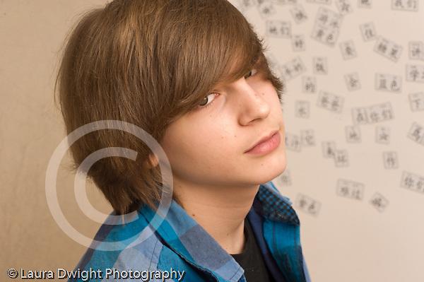 portrait of 14 year old teenage boy closeup Caucasian horizontal