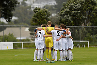 Hawke's Bay United team huddle on the pitch  during the ISPS Handa Men's Premiership - Team Wellington v Hawke's Bay United at David Farrington Park, Wellington on Saturday 21 November 2020.<br /> Copyright photo: Masanori Udagawa /  www.photosport.nz