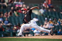 Rochester Red Wings pitcher Caleb Thielbar (25) delivers a pitch during a game against the Norfolk Tides on May 3, 2015 at Frontier Field in Rochester, New York.  Rochester defeated Norfolk 7-3.  (Mike Janes/Four Seam Images)