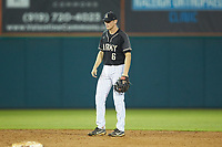 Army Black Knights shortstop Trey Martin (6) on defense against the Auburn Tigers at Doak Field at Dail Park on June 2, 2018 in Raleigh, North Carolina. The Tigers defeated the Black Knights 12-1. (Brian Westerholt/Four Seam Images)
