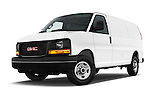 Stock pictures of low aggressive front three quarter view of 2018 GMC Savana-Cargo Work-Van-2500 4 Door Cargo Van Low Aggressive