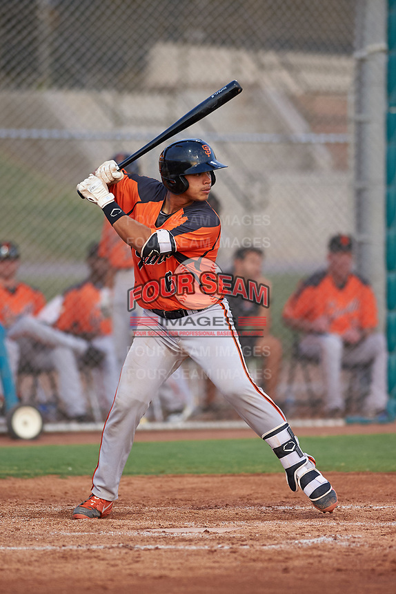AZL Giants Orange Omar Medina (6) at bat during an Arizona League game against the AZL Giants Black on July 19, 2019 at the Giants Baseball Complex in Scottsdale, Arizona. The AZL Giants Black defeated the AZL Giants Orange 8-5. (Zachary Lucy/Four Seam Images)