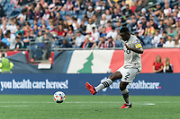 FOXBOROUGH, MA - JULY 25: Victor Wanyama #2 of CF Montreal passes the ball during a game between CF Montreal and New England Revolution at Gillette Stadium on July 25, 2021 in Foxborough, Massachusetts.